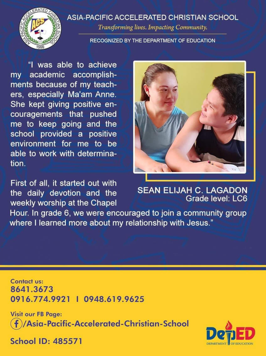 Asia Pacific Accelerated Christian School - Testimonial
